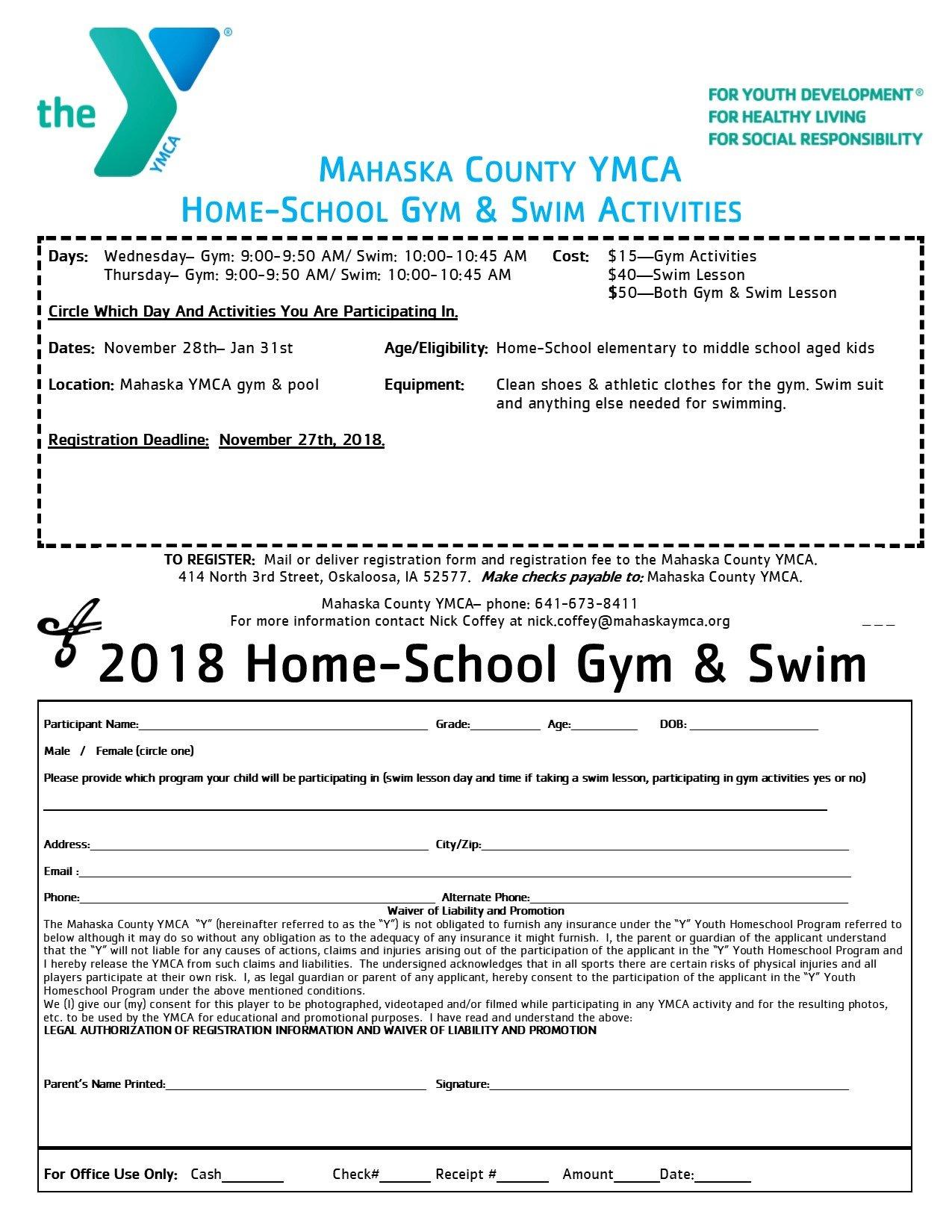 Home School Swim & Gym – Mahaska County YMCA